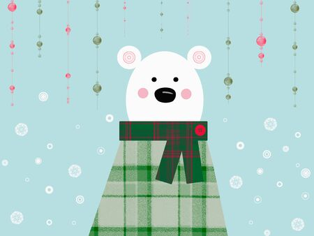 Lovely christmas bear kawaii background Фото со стока