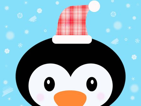 Cute christmas penguin illustration background Фото со стока