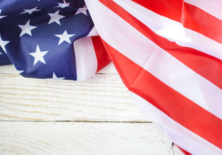 American flag on wooden