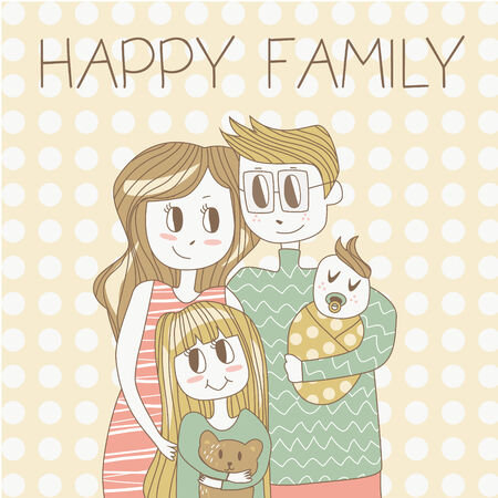 Happy Family with Kids Vector