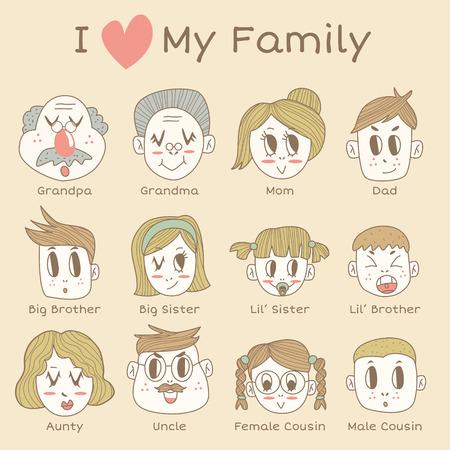 cousin: Family Member Icon Set Illustration