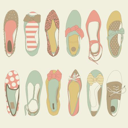 cute shoes: Flat Shoes Vector Set