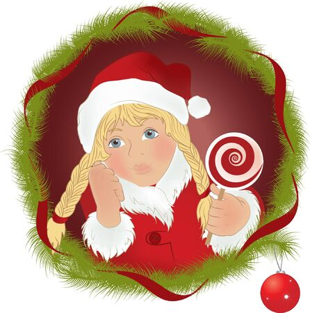 boll: Little girl in suit snow maiden with lollipop  Christmas illustration