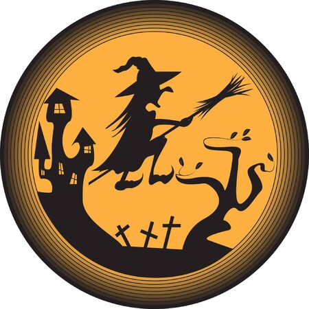 Halloween illustration with witch, old house and grave yard Stock Vector - 16054866