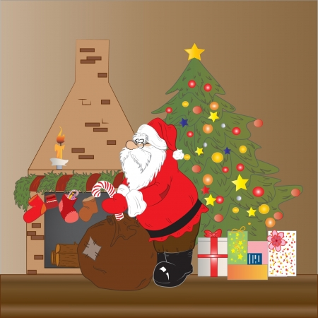 christmas room: illustration of Santa Claus  dropping presents on Christmas night
