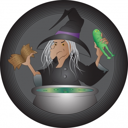 magic cauldron: Halloween witch cooking her brew Illustration