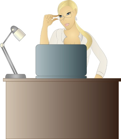 woman laptop: Beautiful blond secretary