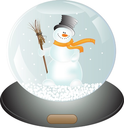Christmas gift - Snowman in Snow Globe  Vector