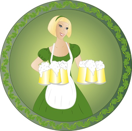 Beautiful blonde waitress serving beer Vector
