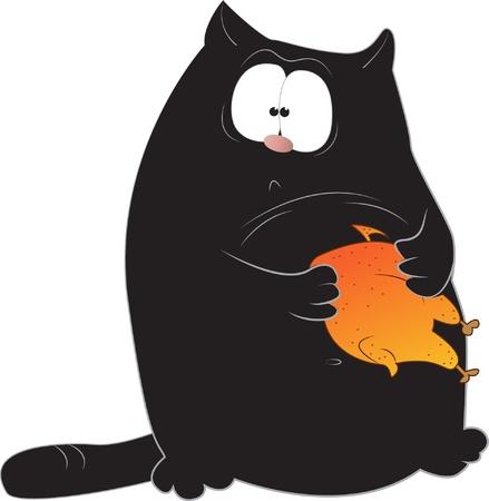 caricature cat: Funny cartoon black cat holding chicken Illustration