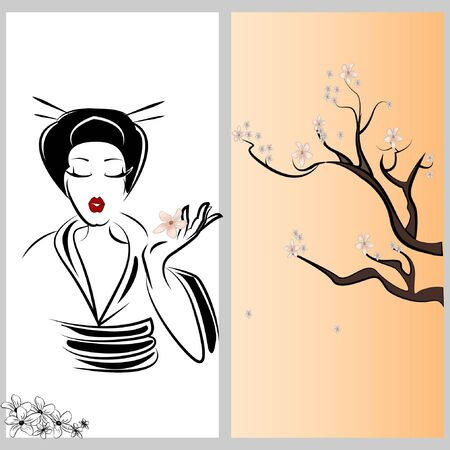 Geisha and sakura Vector