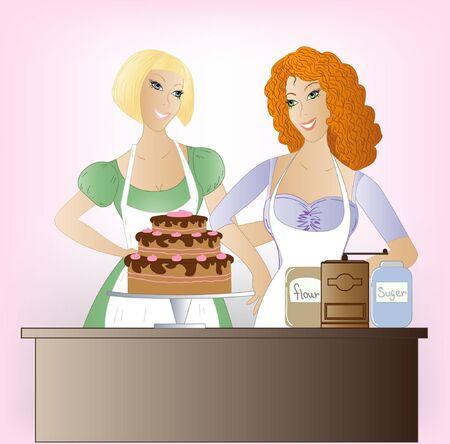 baking cake:  Two beautiful women baking cake for holiday Illustration