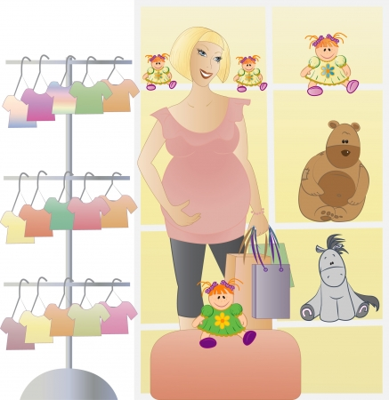 t short: Pregnant woman shopping for her new baby