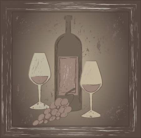 Old style picture of wine glasses and bottle Stock Vector - 16136050