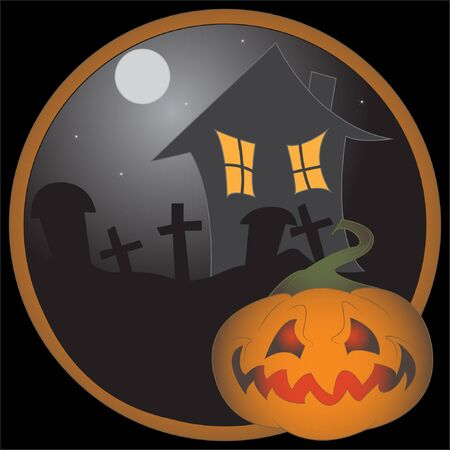 Halloween pumpkin with old house and cemetry Stock Vector - 16136025