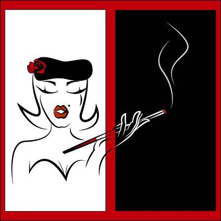 sigaretta: Fumo donna Vettoriali