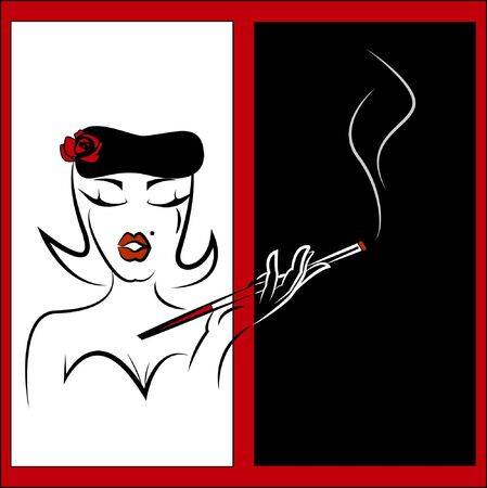 holder: Smoking woman Illustration