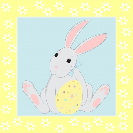 cartoon rabbit: Easter rabbit holding Easter egg