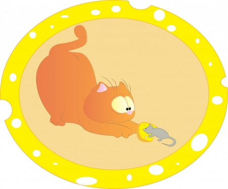 Cat and mouse with cheese Vector