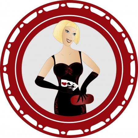 Pin up girl in a Casino Vector