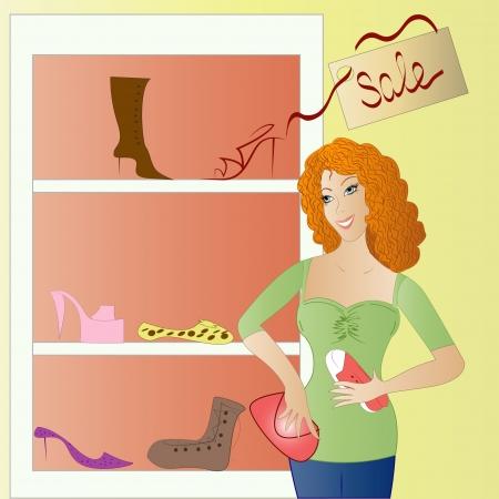 comprando zapatos: Zapatos de mujer que compra en una tienda