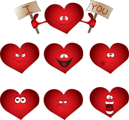 Valentine's set with hearts Stock Vector - 16252135