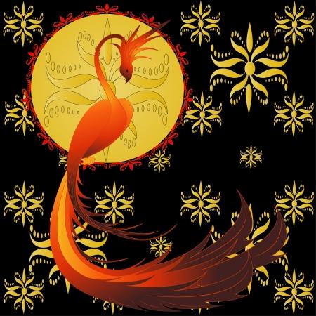 fenice: Phoenix-mitico uccello, illustrazione vettoriale con ornamento dorato