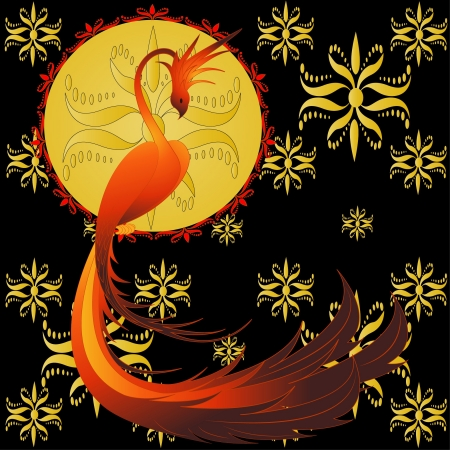 mythical phoenix bird: Phoenix- mythical bird, vector illustration with golden ornament