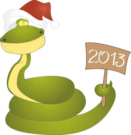 New year snake holding number 2013, vector, isolated Vector