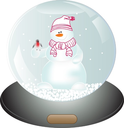Snowman in Snow Globe. Christmas vector illustration Vector