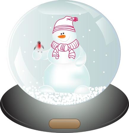 Snowman in Snow Globe. Christmas vector illustration Stock Vector - 16252143
