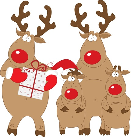family isolated: Reindeer and his family, Christmas characters, vector, isolated Illustration