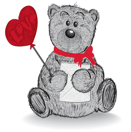 Teddy bear.  Hand drawn vector illustration Stock Vector - 17107675