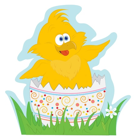 Happy Easter. Cute little chicken in the Easter egg  Vector