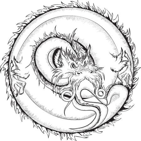 Dragon, black and white vector illustration