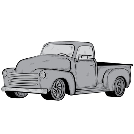 hand truck: Old car, vector illustration Illustration