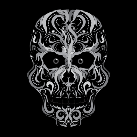 scarring: Scull, abstract vector illustration isolated on black background