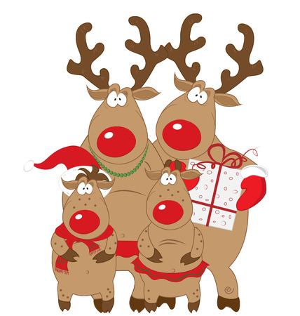 family isolated: Reindeer family. Christmas characters, vector, isolated on white background. Illustration