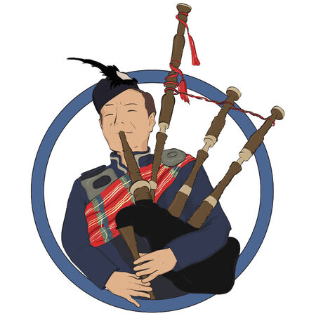 pipers: Illustration of a scotsman bagpiper , isolated on white background