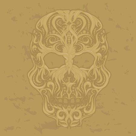 Abstract Scull Ornamental Vector Illustration