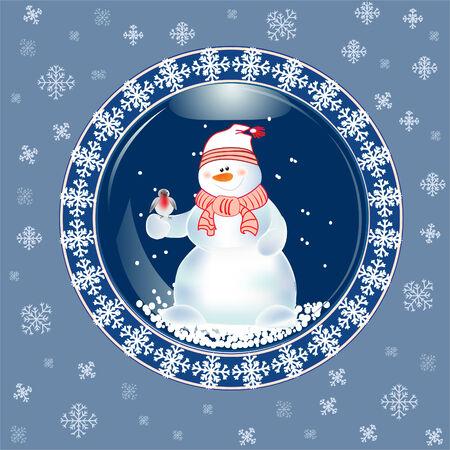 snow man: Christmas Card with Snow Man