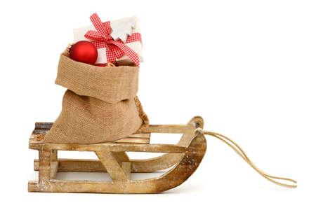 sachets: Xmas present in santa bag Stock Photo