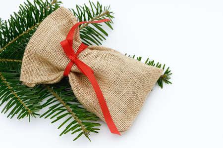 sackful: santa bag lying on white
