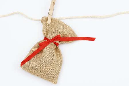 sac: santa sac hanging on a leash