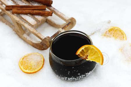 toboggan: mulled wine and toboggan in snow