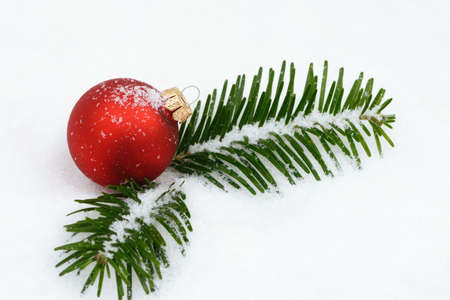 christmas balls: Red xmas bauble lying on snow