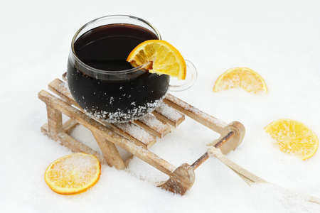 toboggan: mulled wine on toboggan in snow