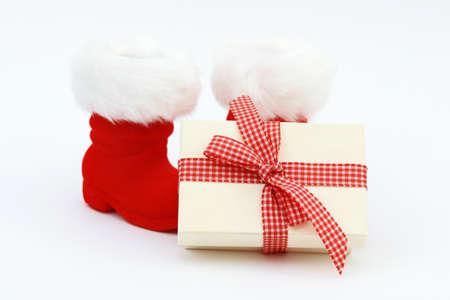 botas de navidad: Botas de Navidad presente y Navidad en blanco