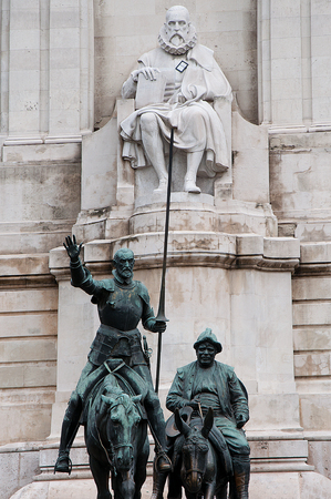 Don Quixote, Sancho Panza and Cervantes en Plaza de Espana photo