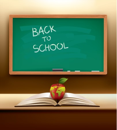 Back to School concept with open book and international apple on top.   Ilustracja